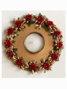 Red Metal Rose  Tea Light Holder