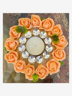 Peach Rose  Tea Light Holder