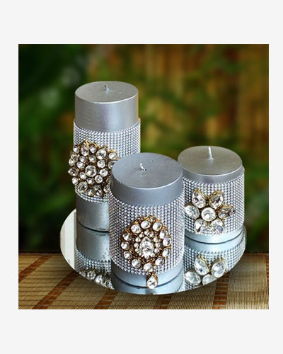 Luxury Silver Candles with Kundan motif on a Round mirror base