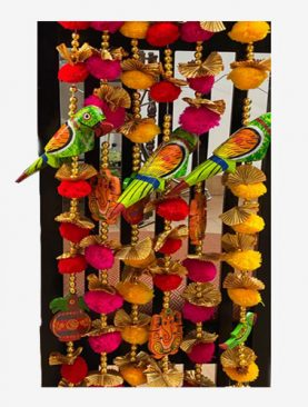 Colorful Hanging Ornaments with wooden parrots