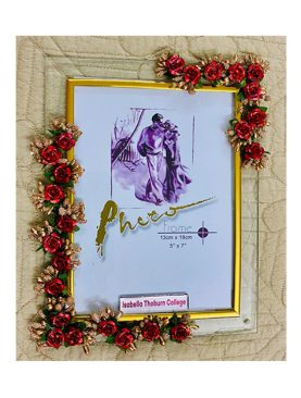 Red and Gold Glass Photo Frame,